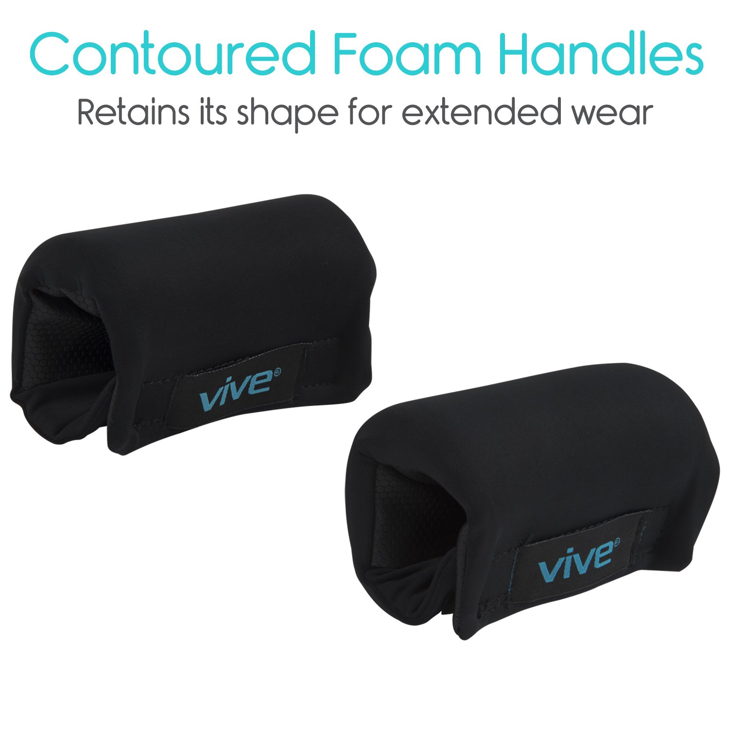Vive Walker Padded Hand Grip Covers- Soft Cushion Padding Medical Accessories for Folding Rolling Walker, Rollator Handle, Senior, Elderly Grippers - Crutch Handle Pads - Mobility Aid Hand Cushion by Vive (Image #8)