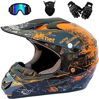Bmaq Erwachsene Motocross Helm Motorradhelm Cross Helme Schutzhelm Für Motorrad Crossbike Off Road Enduro Sport Mit Handschuhe Sturmmaske Und Brille Xl59 60cm Beleuchtung