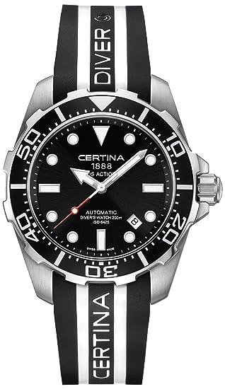 Certina - Reloj Analógico de Automático para Hombre, correa de Goma color