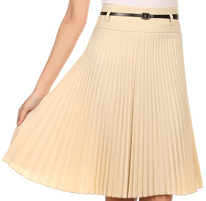 1920s Style Skirts Sakkas Knee Length Pleated A-Line Skirt with Skinny Belt $22.99 AT vintagedancer.com
