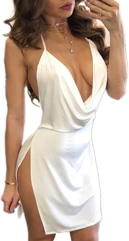 Woweal NEU Sommerkleid Damen Reizvolle ärmellos Tief V Ausschnitt Bodycon Minikleid Partykleid Fashion Rückenfrei Slits Hoher Kurz Kleider Trägerkleid Abendkleider