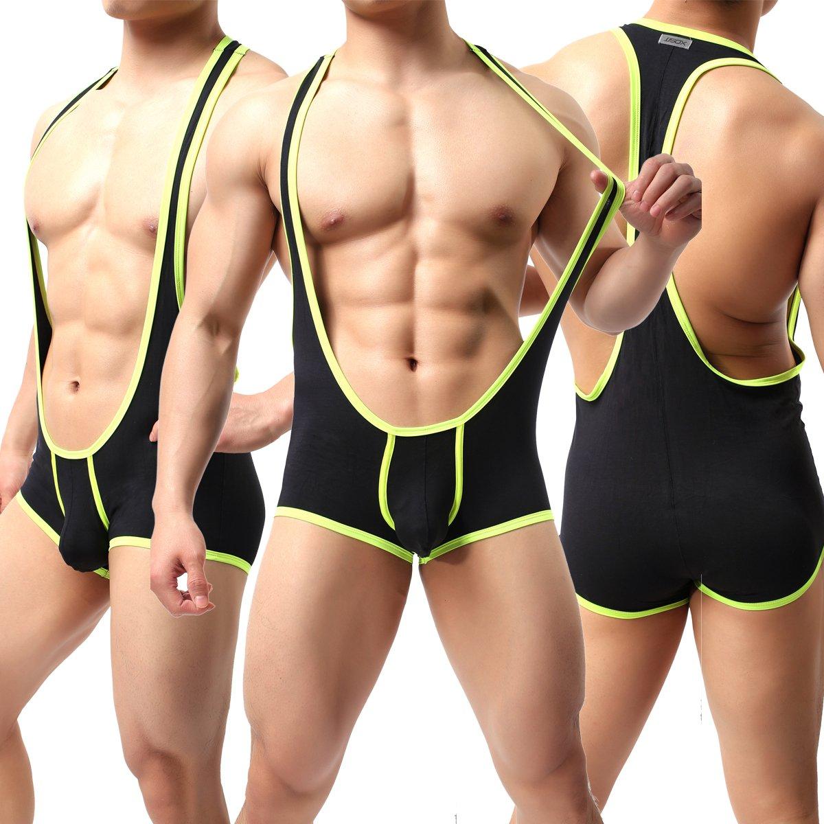 Ykeke Modal Men's Sexy Body Leotard Freestyle Wrestling Singlet Backless Bodysuit (Black, M)