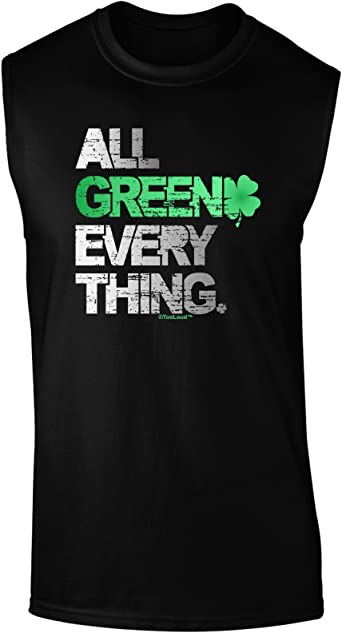 TooLoud All Green Everything Distressed Muscle Shirt
