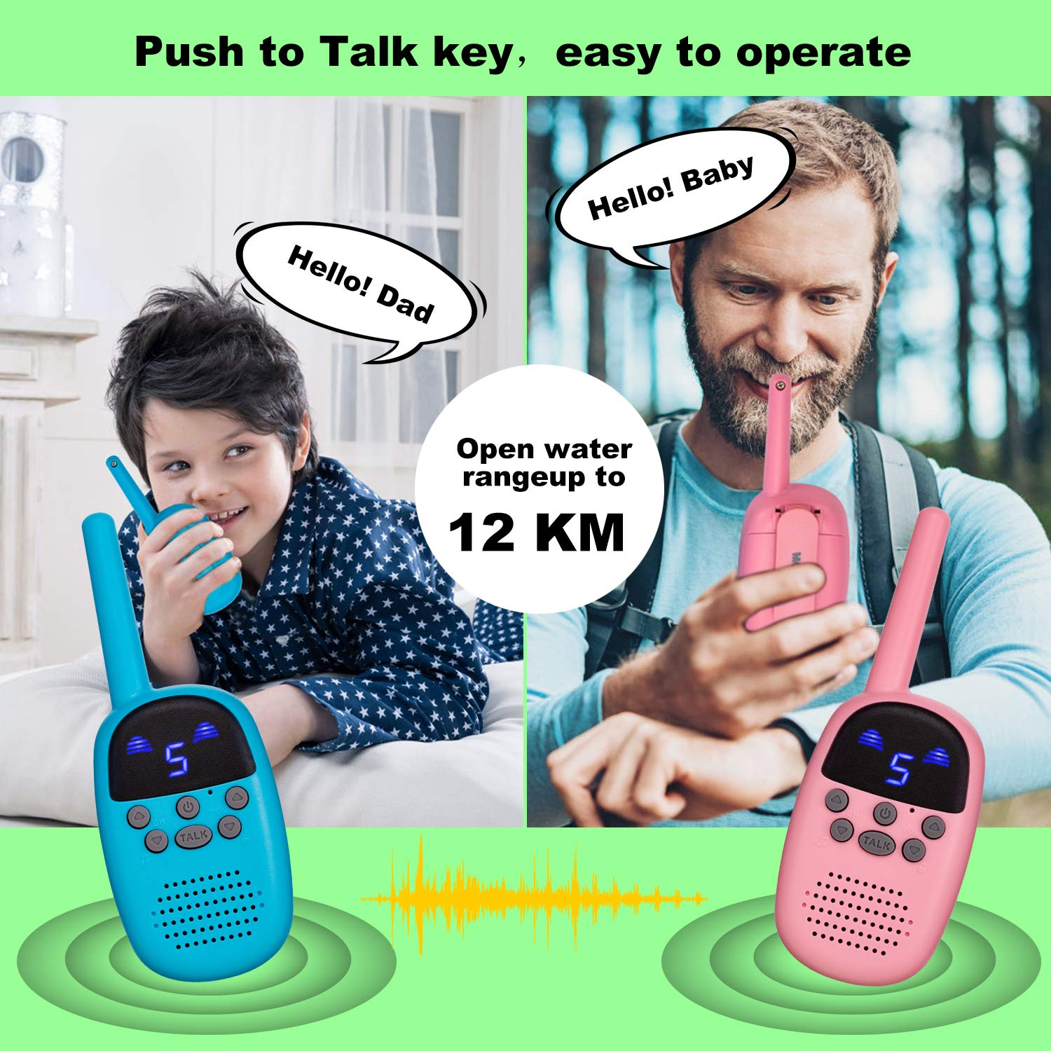omzer Toy Walkie Talkies for Kids with 9 Channels FRS/GMRS Handheld Interphone Long Range for Adventures, Camping, Hiking, Great Creative Gifts for 4-7 Years Old Girls Boys(Pink/Blue, 1 Pair) by omzer (Image #5)