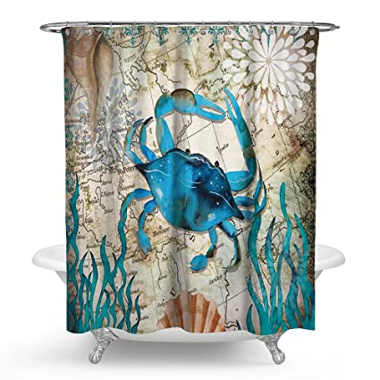 ECONIE Crab Shower Curtain Mandala India Thermal Insulated Curtains Blackout Draperies Window Solid Grommet Room Panels