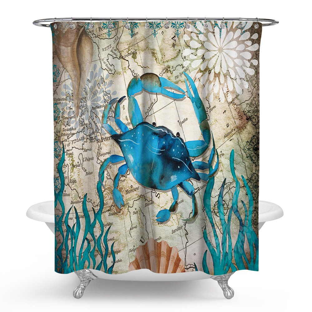Econie Crab Shower Curtain Mandala India Thermal Insulated Curtains Blackout Draperies Window Solid Grommet Room Panels with 12 Hooks for Bedroom Livingroom Bathroom, 71 x 71 (14)
