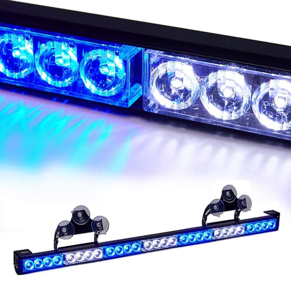 SmallfatW 32 Inch 28 LED Emergency Warning Light Bar Flash Strobe Light Bar Universal Vehicles Truck Traffic Advisor Light with Cigar Lighter and Suction Cups (Amber/White) SmallFatW Factory