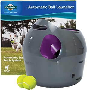 PetSafe Automatic Dog Toy Ball Launcher - Interactive Tennis Ball Thrower for Dogs Indoor & Outdoor Adjustable Range – Weather-Resistant – Options for A/C Power or Battery Operated