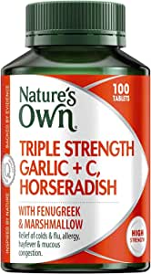 Nature's Own Triple Strength Garlic + C, Horseradish - Reduces Severity of Colds - Supports Respiratory Health, 100 Tablets
