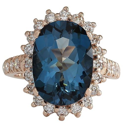 8.34 carati topazio blu London naturale e diamante anello da cocktail in  oro rosa 14 K per donne  Amazon.it  Gioielli 20570240a2f