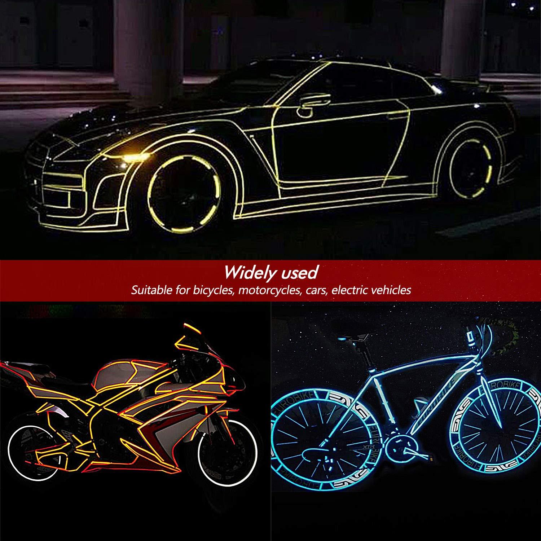 Bande de S/écurit/é Universel de Signalisation Casque Moto 1cm 8m NATEE Lot de 6 Ruban Adh/ésif R/éfl/échissant pour /éclairage de Voiture et Moto