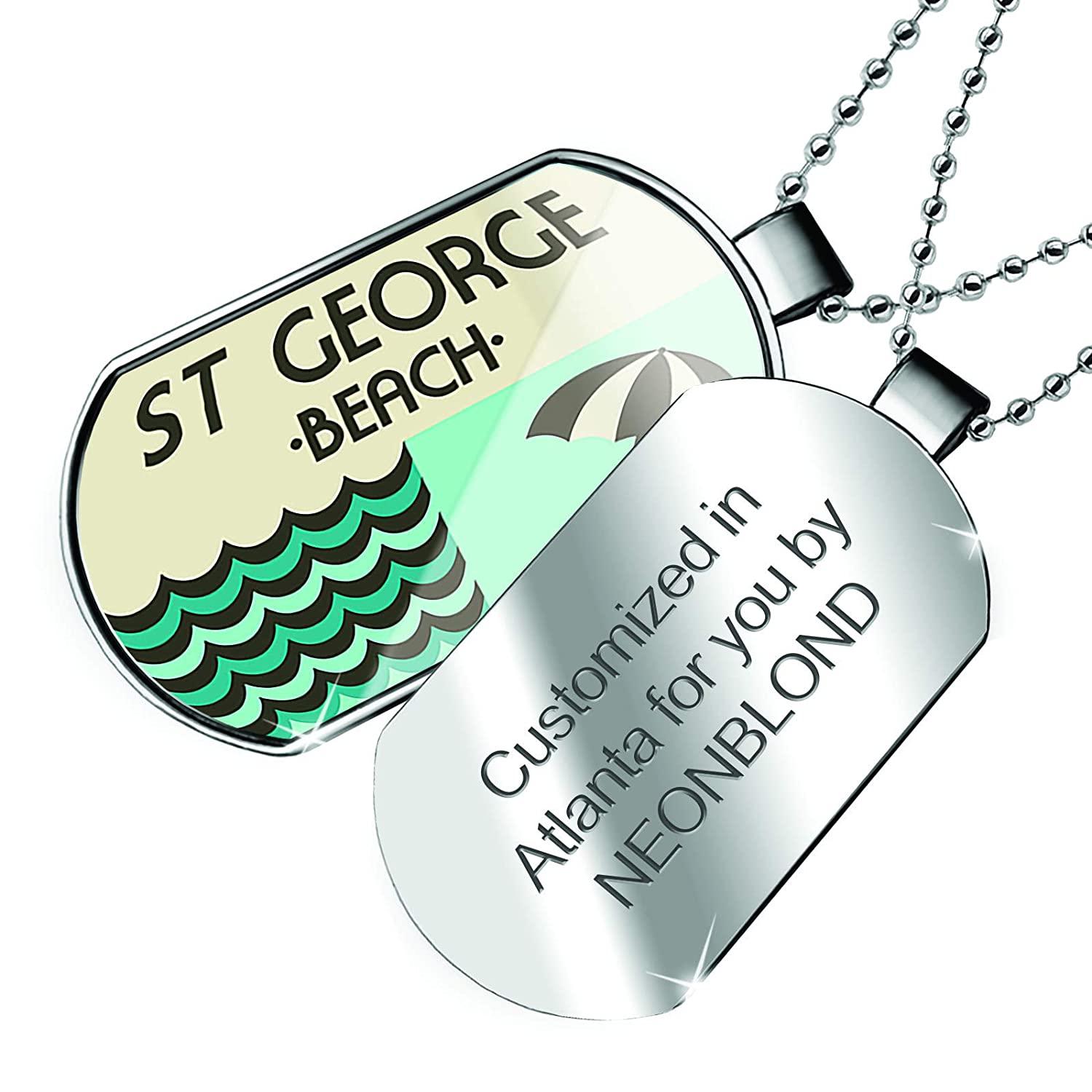 NEONBLOND Personalized Name Engraved US Beaches Vacation St George Beach Dogtag Necklace