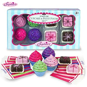 "Sophia's 18"" Doll Play Food Cupcakes, Petit Fours and Napkins"