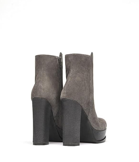 Poi Lei PoiLei Tara - Damen-Schuhe/Exklusive Plateau-Stiefelette Aus  Echt-Leder - Ankle-Boot mit High-Heel Block-Absatz und Schöner Zier-Naht -  Taupe: ...