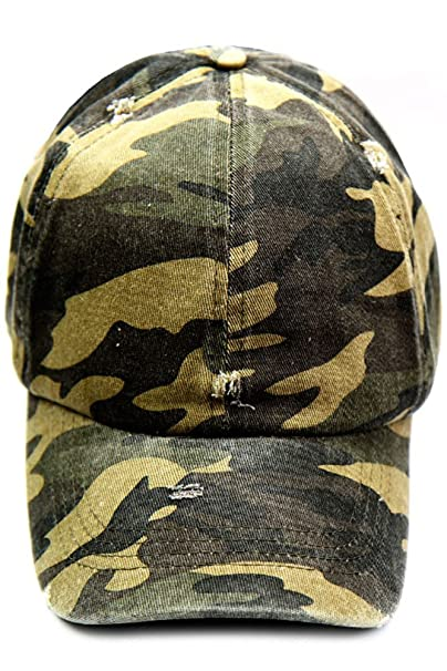 e07a36eecf008 Distressed Camo Baseball Cap CAP6098 at Amazon Women s Clothing store