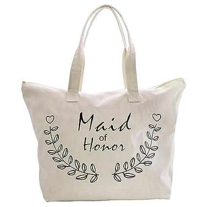 b863a20db4ca Amazon.com  ElegantPark Maid of Honor Tote Bag for Wedding Bridesmaid Gifts  Zip Canvas Cotton  Home   Kitchen