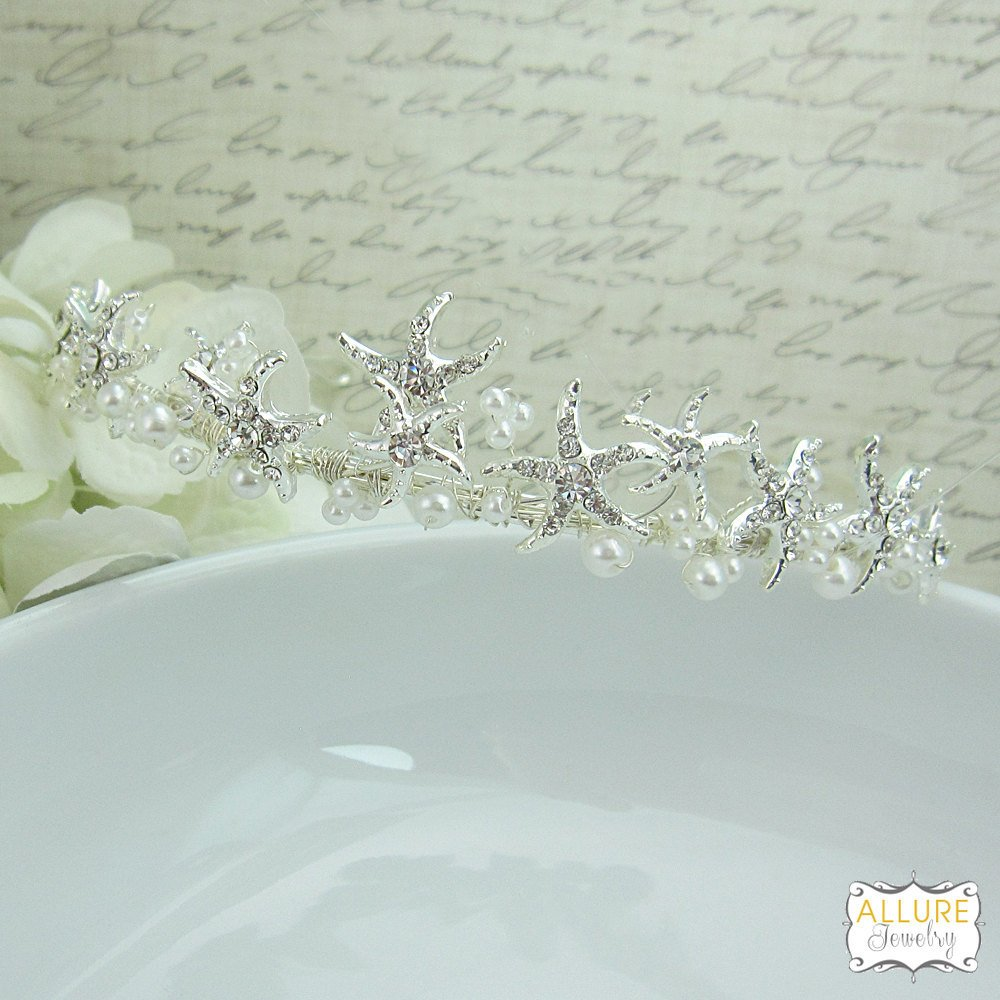 Lia Starfish Rhinestone and Pearl Wedding Tiara Headpiece by Ladorn