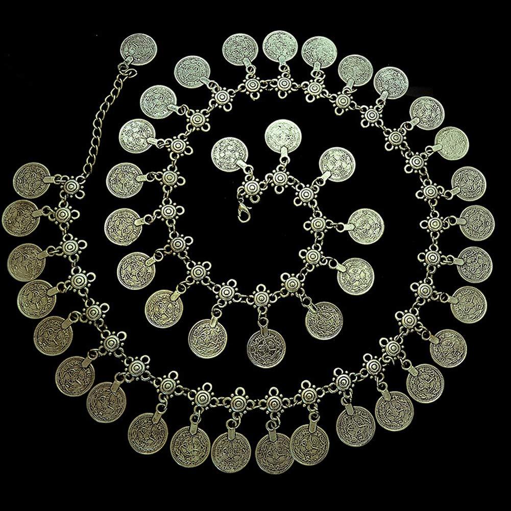 Women Silver Plated Coin Belly Dancing Tassel Waist Chain Belt Gypsy Bohemian Hippie Beach Dance Vintage Waistband For Female