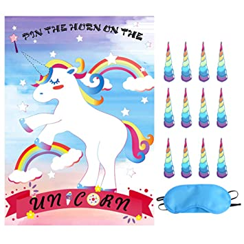 Unicorn Party Supplies Pin The Horn On Rainbow Games Theme Birthday Decoration Favor
