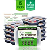 Meal Prep Containers (3 Compartment ) Certified BPA Free - Reusable Stackable Microwave Freezer Safe Plastic Divided Food Storage Portion Lunch Box w/ Airtight Clear Lids (15 Pack, 32 oz) + Planners