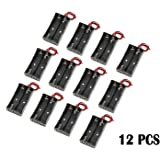 WAYLLSHINE® 12 Pcs/1 Dozen 2 x 1.5V AA Battery Holder Case Box Black Wire Leads