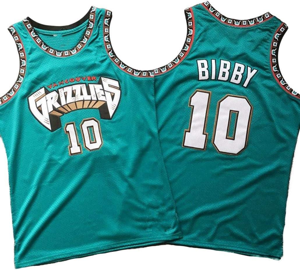 Auart Mens Camiseta de Baloncesto # 10 Mike Bibby Trajes sin Mangas Unisex de la Vendimia de la NBA Memphis Grizzlies Verde al Aire Libre J/óvenes Competici/ón Deportes