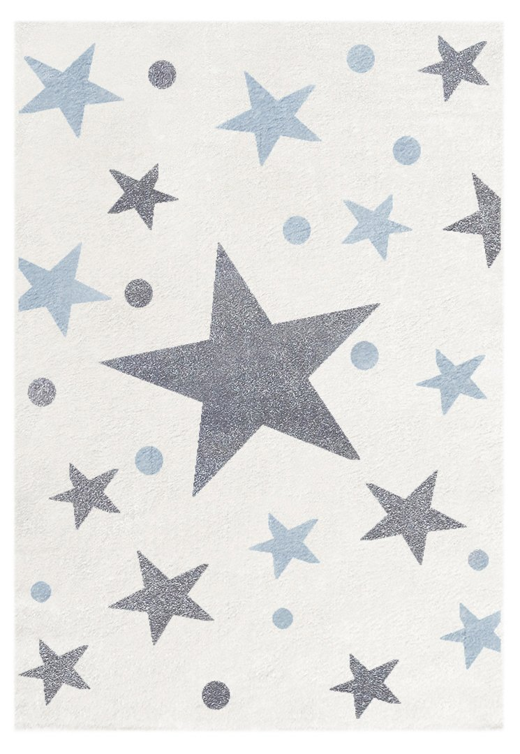 Livone Kinderteppich Happy Rugs Stars Creme Silbergrau-blau 160 x 230 cm