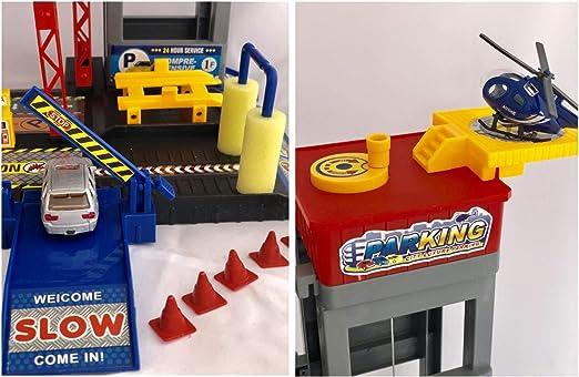 Parkgarage inkl Spielteppich Spielzeug Autogarage Parkhaus