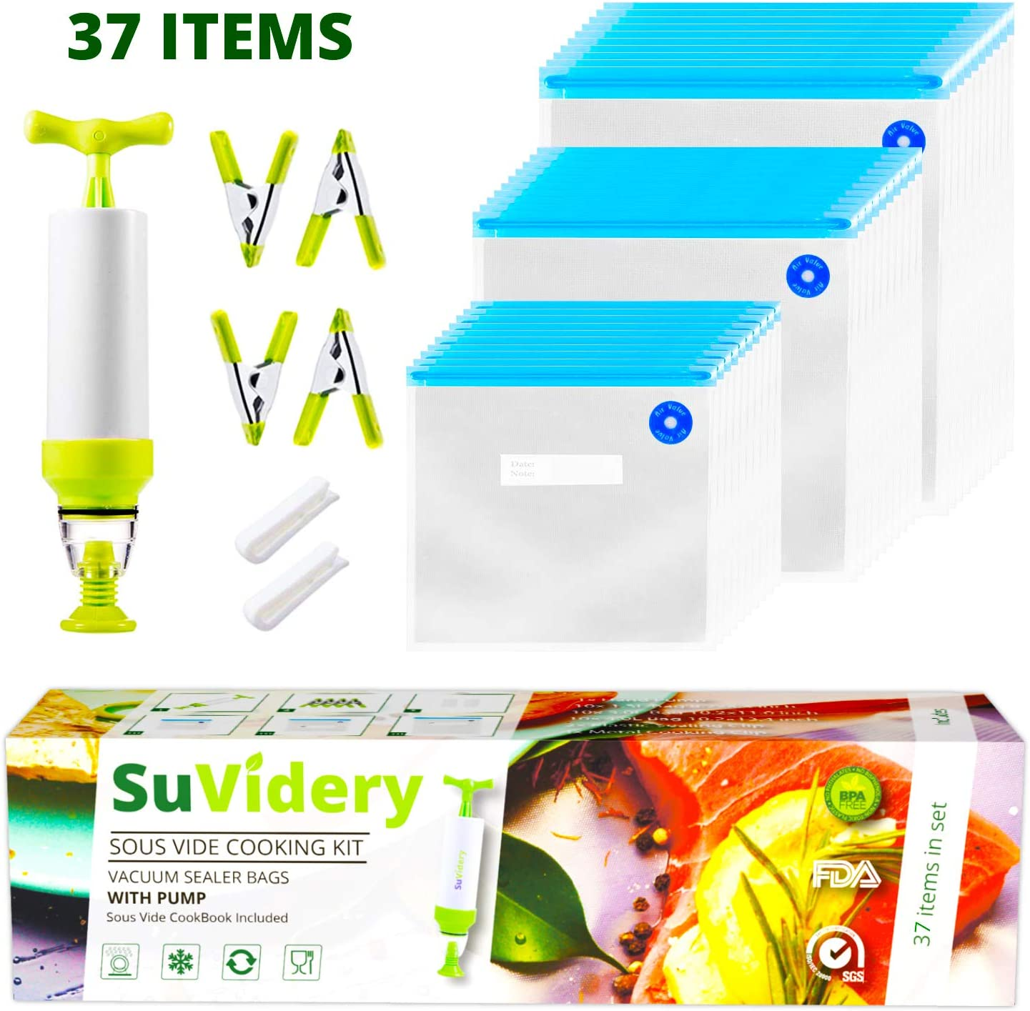 Sous Vide Bags By SuVidery - 30 Reusable Multi Size Vacuum Sealer Bags Kit With Hand Pump - Easy To Use For Any Sous Vide Cookers, Freeze Or Store Food