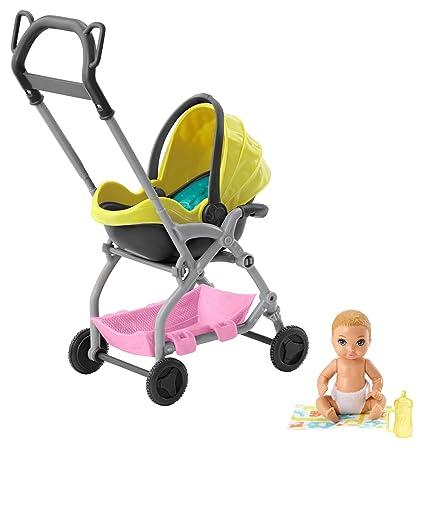 Barbie Skipper Muñeca Pequeña Bebé con Carrito Muñeca y Conjunto de Juego Skipper Canguro de Bebés