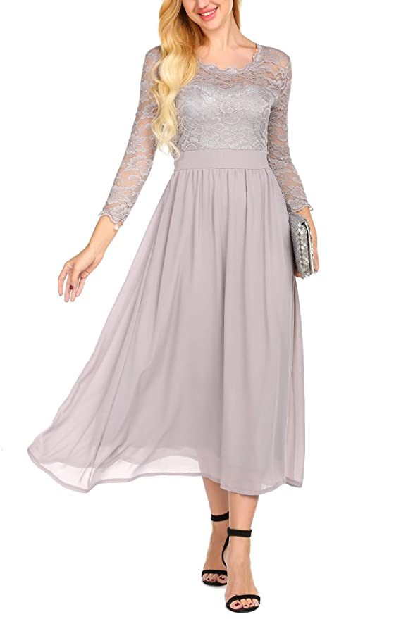 Edwardian Evening Gowns , Ballgowns, Formal Dresses ACEVOG Womens Retro Floral Lace Dress 3/4 Sleeve Chiffon Maxi Dresses $41.99 AT vintagedancer.com