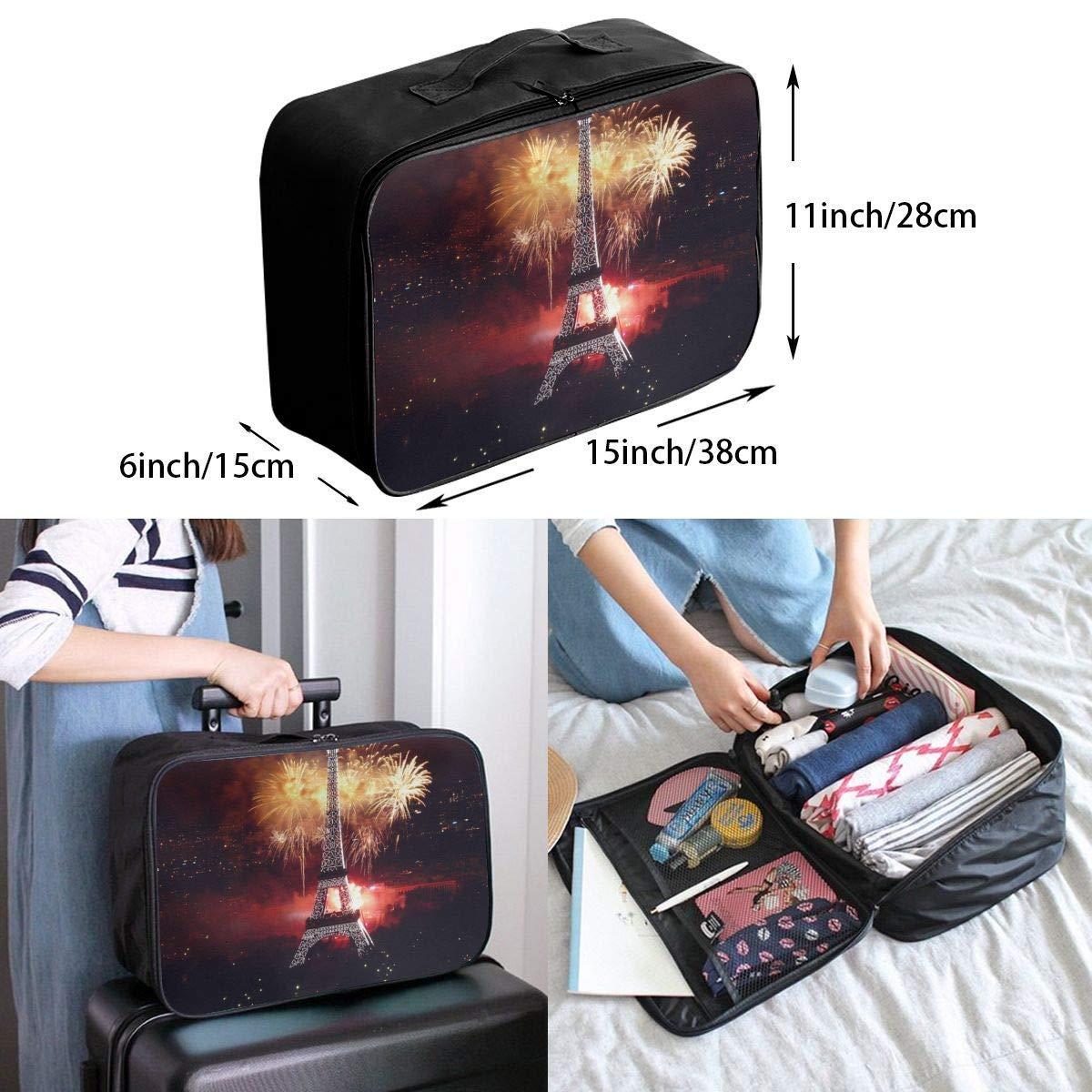 JTRVW Luggage Bags for Travel Lightweight Large Capacity Portable Duffel Bag for Men /& Women Eiffel Tower Fireworks Travel Duffel Bag Backpack