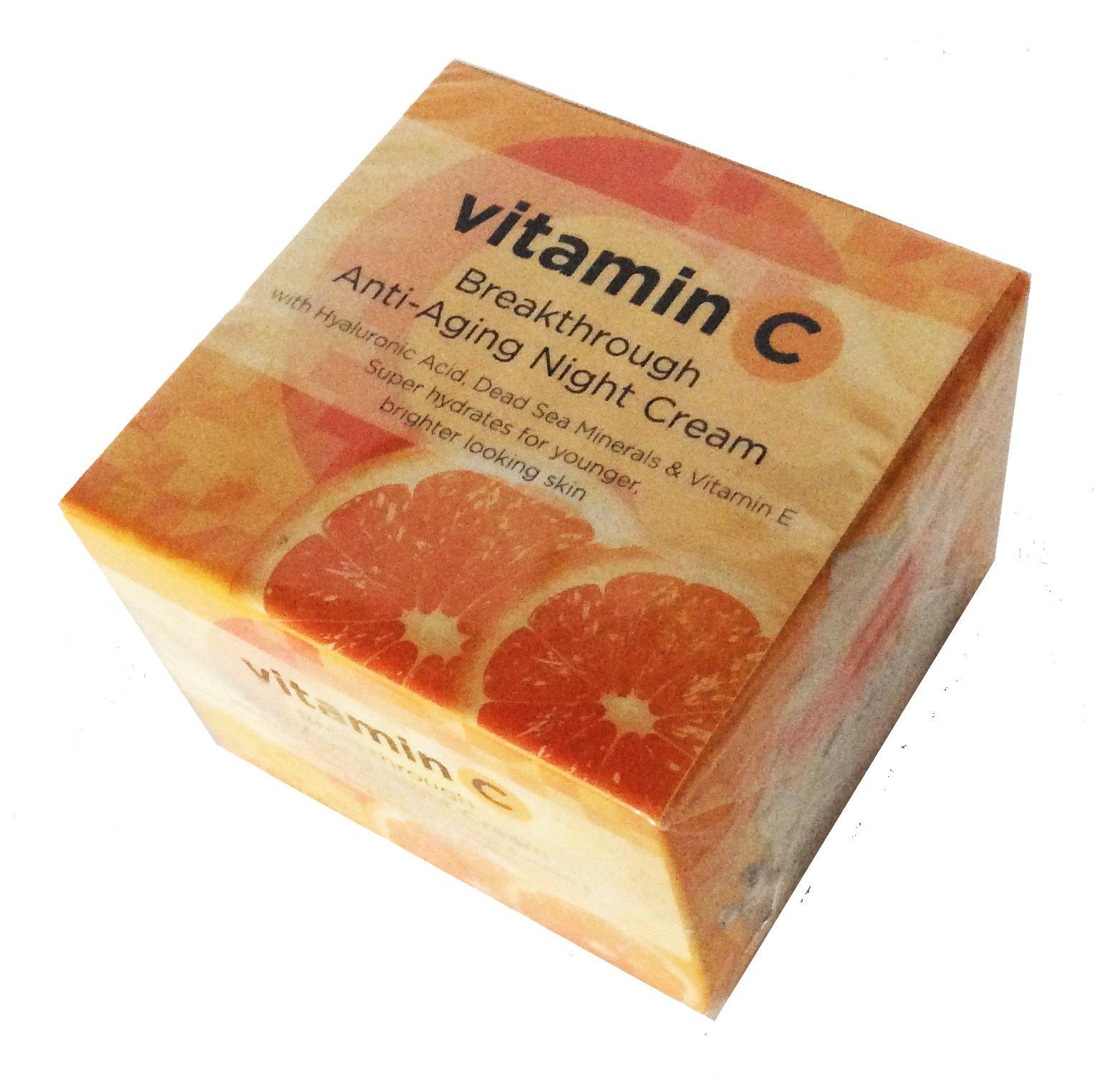 VITAMIN C ANTI-AGING NIGHT CREAM with Hyaluronic acid, Dead Sea Minerals & Vitamin