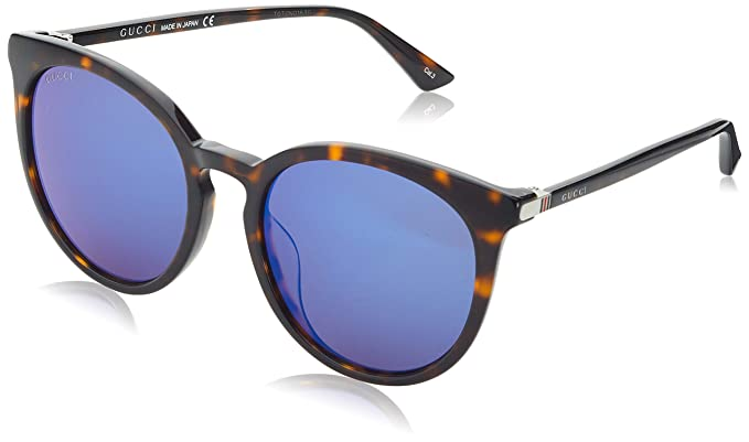 6c396dfdc5 Image Unavailable. Image not available for. Color  Gucci GG 0064SK 003  Havana Plastic Round Sunglasses Blue Mirror Lens