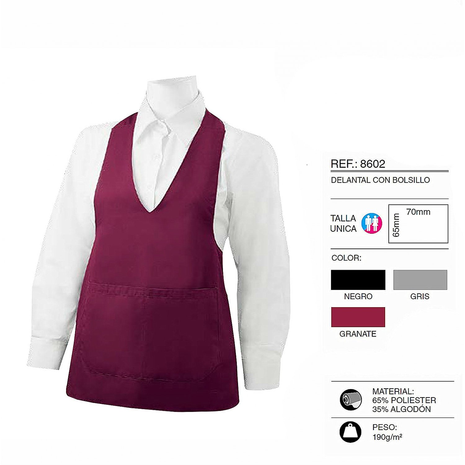 70/mm Uniform Work Clinica Hospital Cleaning Veterinary Health Hospitality/ 8602 burgundy MISEMIYA Cleaning Apron with Pocket 65/mm /ref