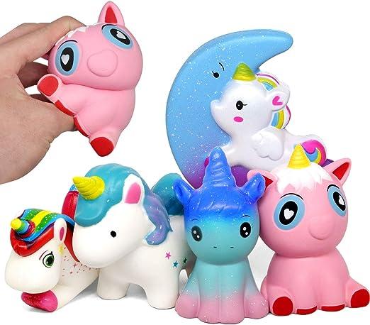 Amteker 5 Pack Kawaii Unicornio Squishy - Lento Aumentopara Grandes Perfumado Squishies Juguete Gigante Antiestres Animales Juguetes Regalo Niños Y Adultos: Amazon.es: Juguetes y juegos