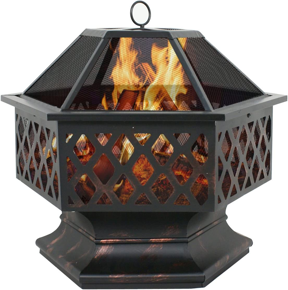 Nova Microdermabrasion 24 Outdoor Fire Pit Hex Shaped Metal FirePit w Spark Screen Cover, Home Patio Garden Backyard Firepit Bowl Wood Burning Fireplace