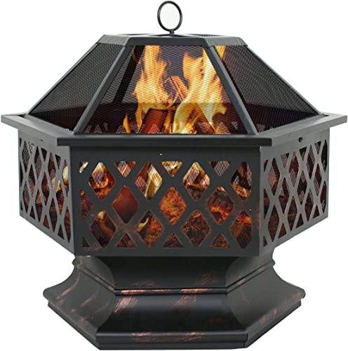 ZENY 24″ Fire Pit Outdoor Wood Burning Fireplace Hex Shaped Home Garden Firepit Backyard Patio Firebowl w/ Spark Screen Cover