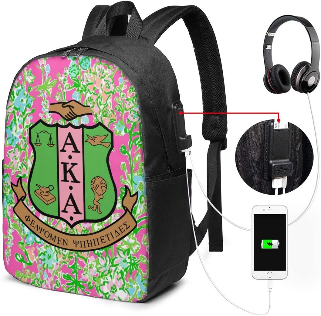 YRAI Alpha Kappa Alpha Unisex Student Adult Classic USB Backpack 17 in Laptop Bags Bookbag for School Office Travel
