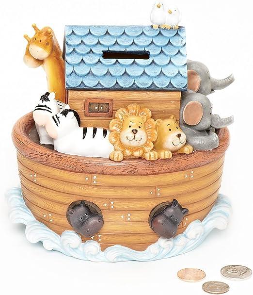 Noahs Ark Resin Money Box Bank Boat /& Animals Children`s Or Baby`s Nursary Gift