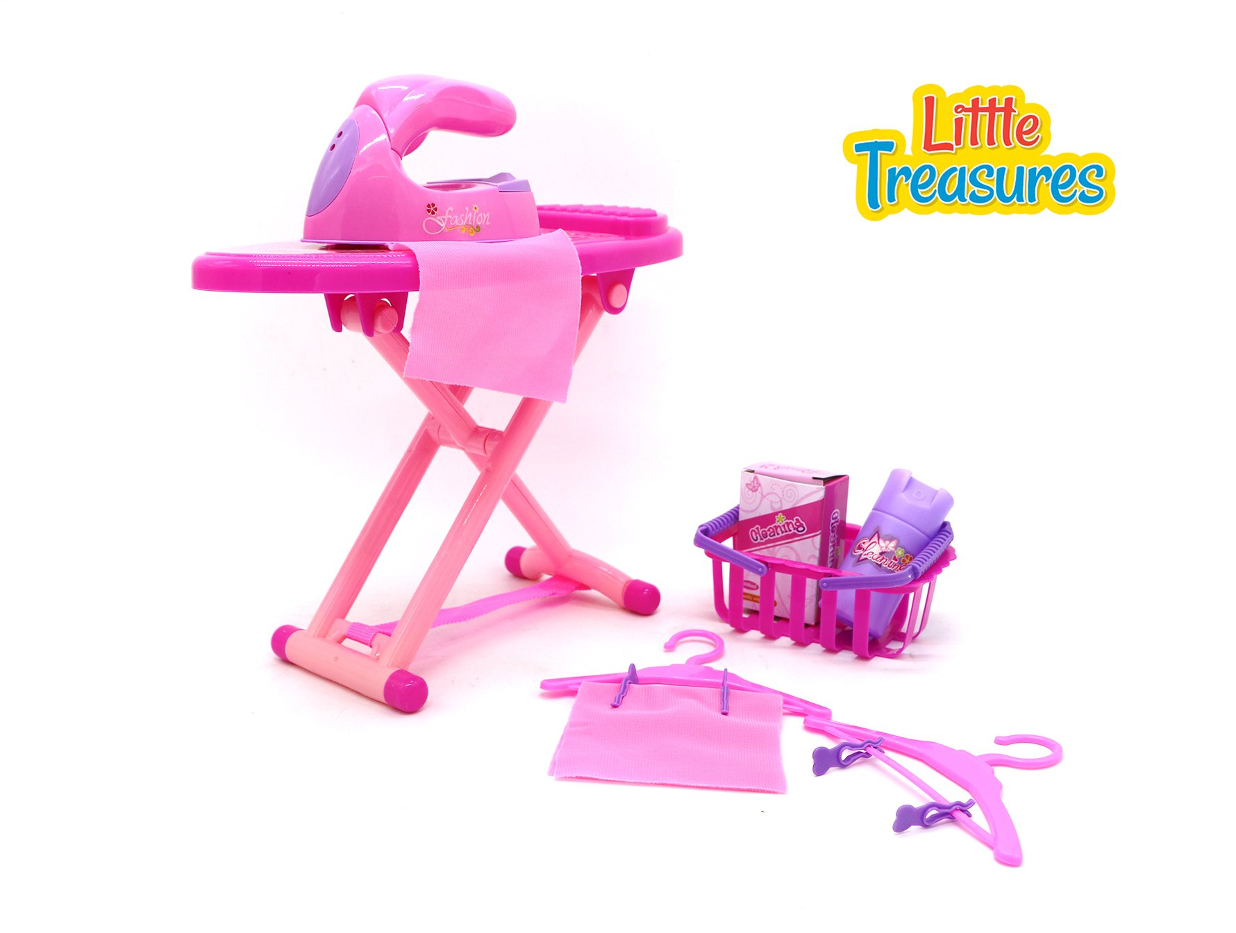 Little Treasures Laundry Playset Toy Family Mini Set Featuring A Toy Iron and Ironing Board, Toy Basket, Toy Hangers and Toy Cleaning Materials