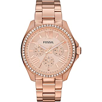cbc0e1f60702 Amazon.com  Fossil Women s AM4483 Cecile Rose Gold-Tone Watch with ...