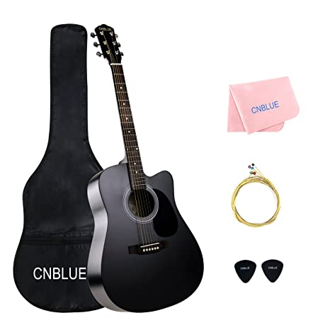 Guitarra acústica negra 41 pulgadas tamaño completo cuerdas metálicas kit de funda, cuerdas extras,