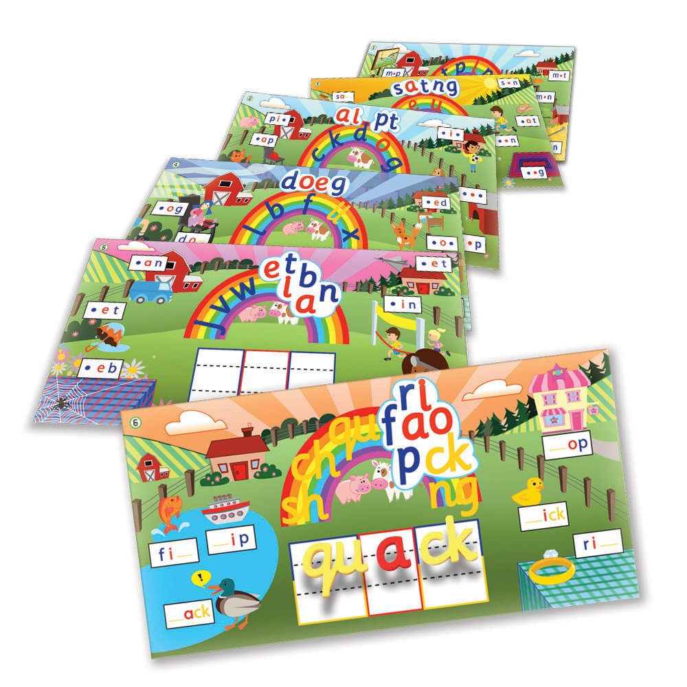 Junior Learning Rainbow Phonics Word Farm 6 Vibrant Magnetic Learning Landscape Boards by Junior Learning