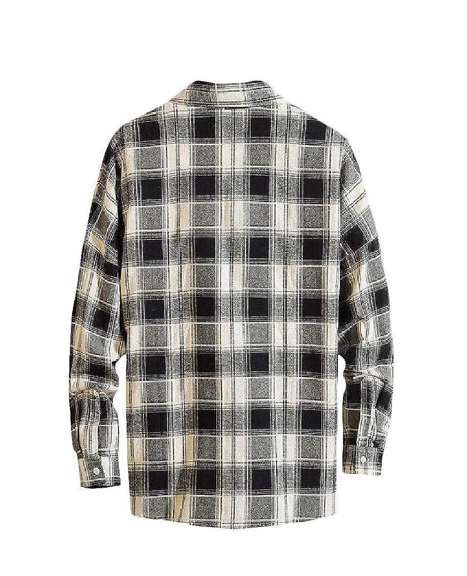 Sweatwater Men Button-Down Long Sleeve Fit Cotton Plaid Shirts