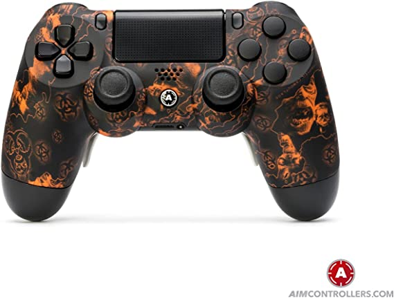 PS4 Slim DualShock 4 PlayStation 4 Wireless Controller - Custom AimController ReaperZ Orange with 4 Paddles. Upper Left Square, Lower Left X, Upper Right Triangle, Lower Right O: Amazon.es: Videojuegos