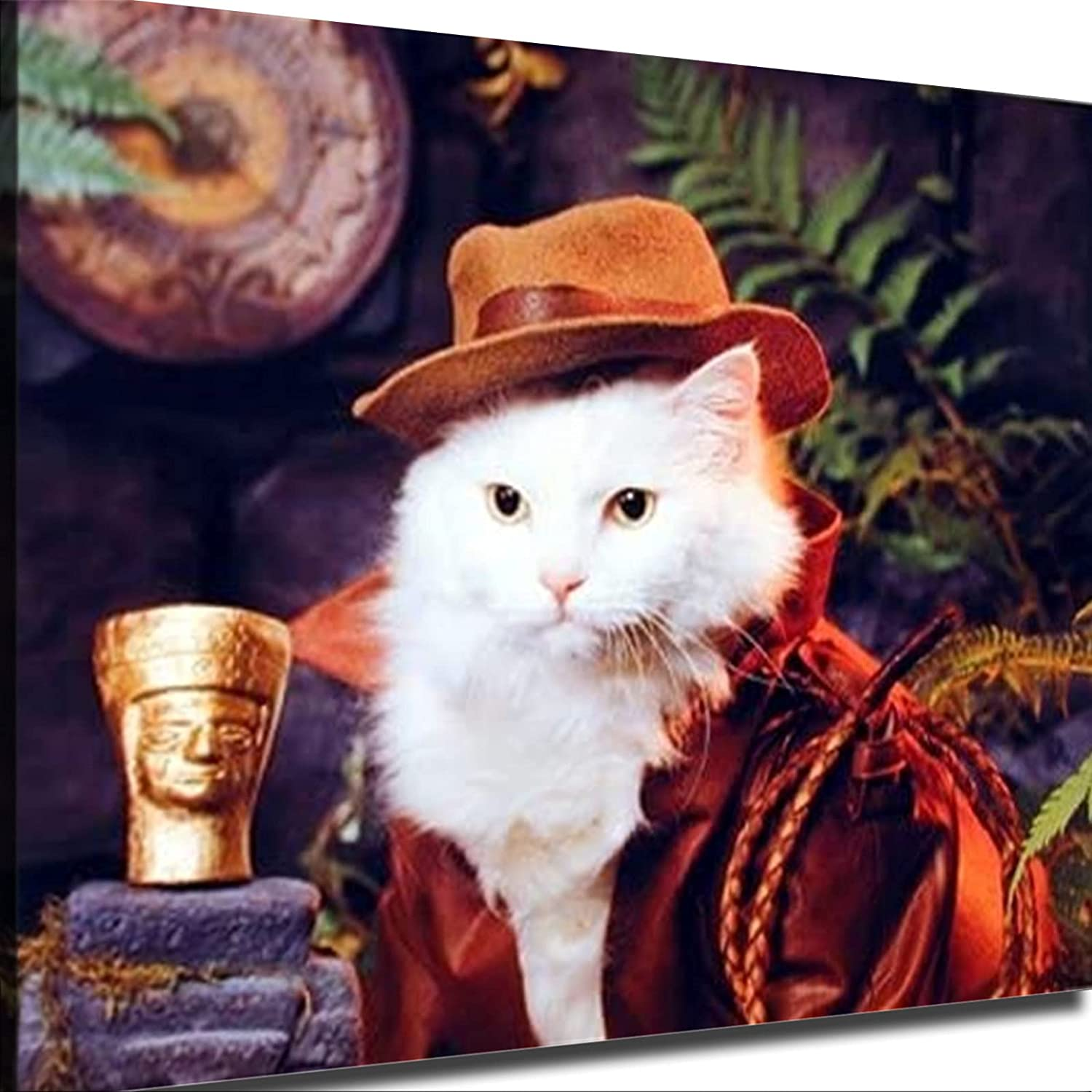 Indiana Jones Cat Funny Animal Nature Kids Room Poster Picture Art Print Canvas Wall Art Home Living Room Bedroom Decor Mural (12×12inch-Framed)