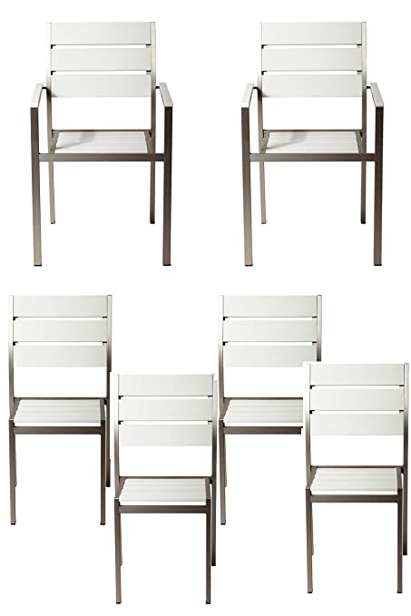 Beau Pangea Home Roy 6Piece Dining Chairs, White