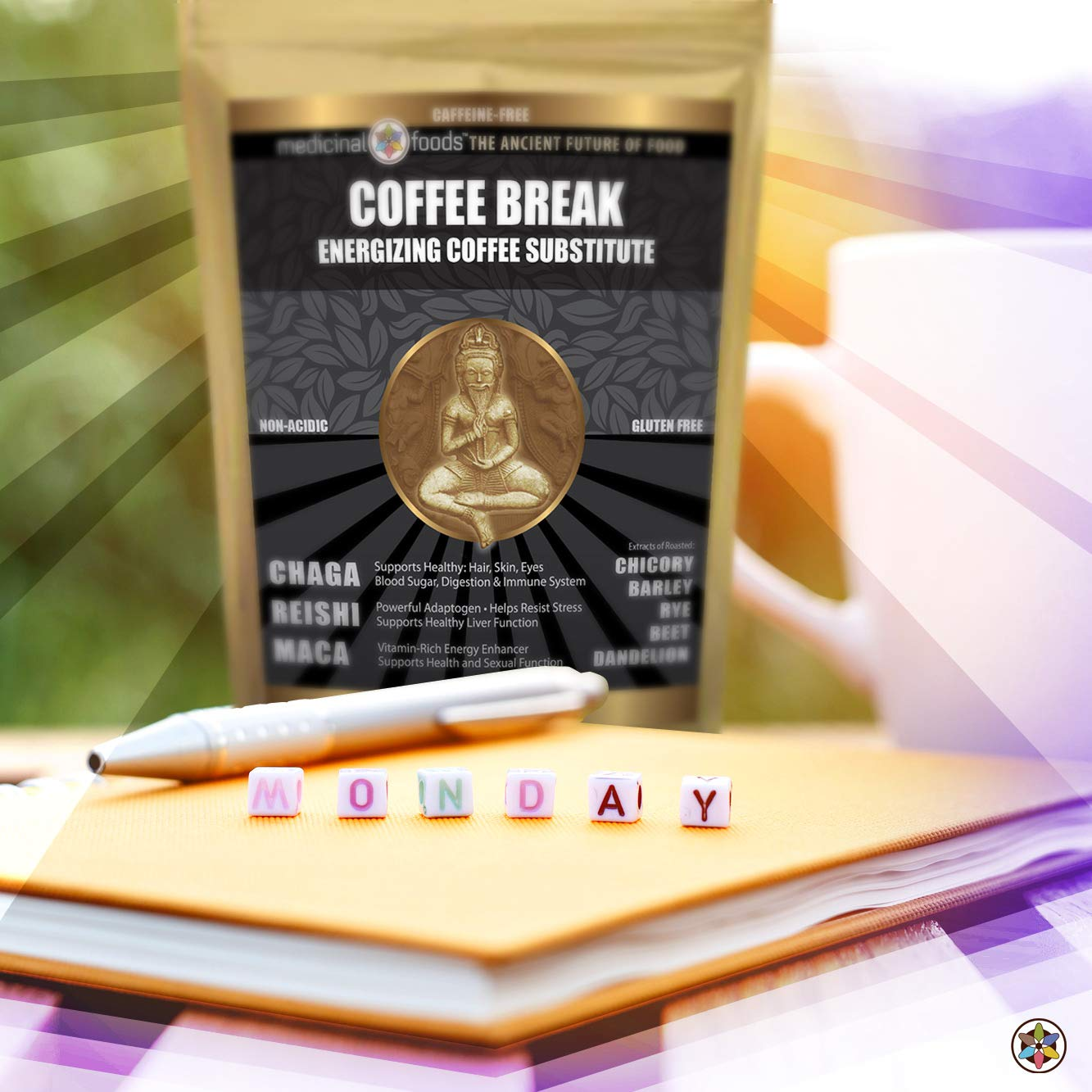 Medicinal Foods Healthy Energy Drink: Caffeine-Free Coffee Substitute, Loaded with Superfoods, such as Chaga, Reishi, and Maca, Non-Acidic, Non-GMO, All-Natural, Organic, Gluten-Free (6oz) by Medicinal Foods, LLC.