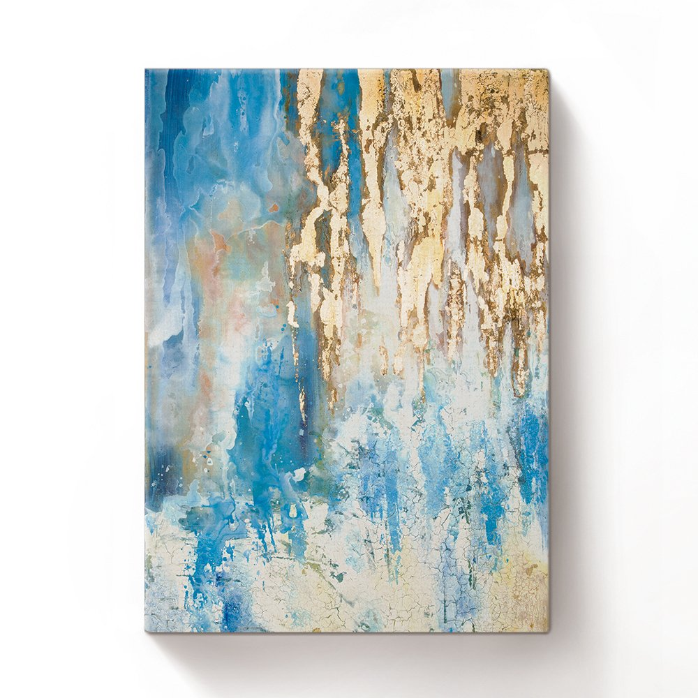 Crystal Emotion Blue Art Paintings,Paintings Oil Hand Painting 3D Hand-Painted On Canvas Abstract Artwork Art Wood Inside Framed Hanging Wall Decoration Abstract Painting (Golden) 24x36inch